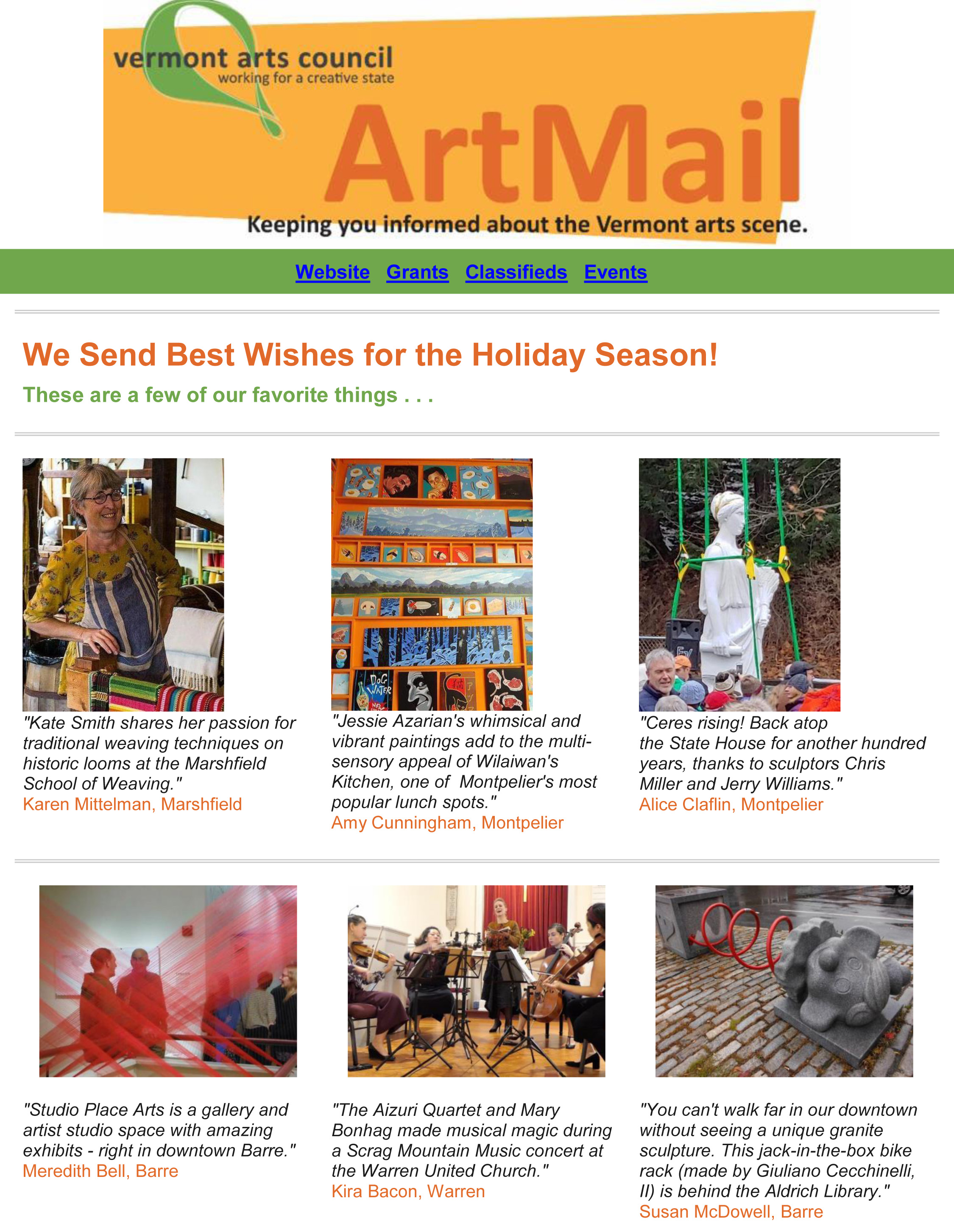 Vermont Arts Council S Favorite Things December 20 2018
